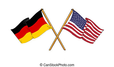 American and german alliance and friendship - cartoon-like...