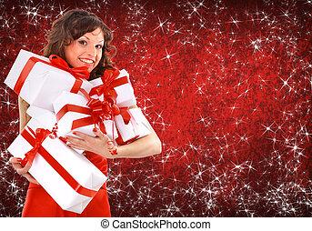 retrato, hermoso, joven, mujer, Llevando, navidad, ropa,...