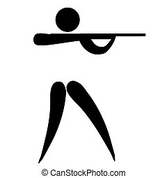 Shooting sign - Black silhouetted shooting sign or symbol;...