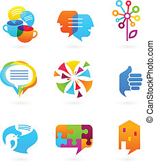 Collection of social media and network icons and elements