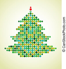 Xmas background with pixel Christmas tree, vector