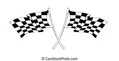 Checkered racing flag - Two crossed checkered racing flags