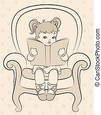 cartoon little girl with book - Vintage cartoon little girl...