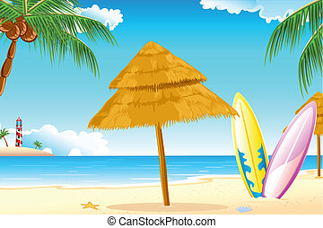 Surfing Board - illustration of surfing board on sea beach
