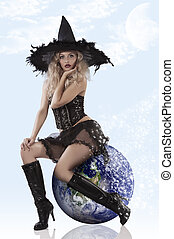 beautiful witch dressed very sexy - very sexy and attractive...