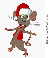 mouse with santa hat
