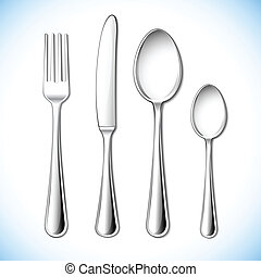 Cutlery Set - illustration of cutlery set with fork,knife...