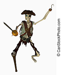 3d render of a undead pirate