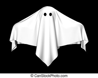 The ghost covered with a white coverlet