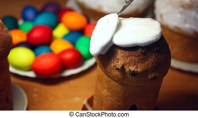 Easter cake. - Spread the cream on Easter cake.