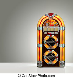 Retro Jukebox - Old retro jukebox in an empty room with nice...