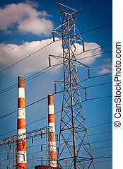 Smoke Stacks - Power Plant Stacks and Lines
