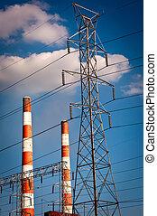 Smoke Stacks - Power Plant Stacks and Lines