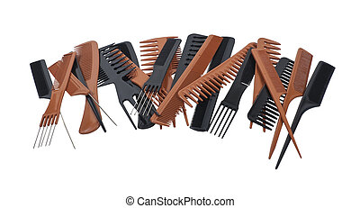 Pile of Combs - A variety of beautician combs for hair care...