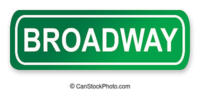 Broadway street sign; isolated on white background, New York...