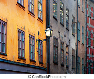 Ancient buildings in Stockholm - Facade of ancient buildings...