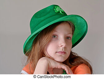 Green Eyed 9 Year Old Girl Wearing Green St Patricks Day Hat...