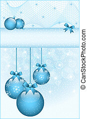 Blue christmas balls and bows