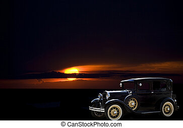 Vintage automobile at sunset - Old car with sunset...