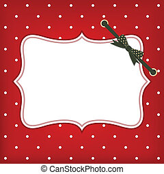 Vector greeting christmas card with frame and bow Space for...