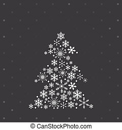 Christmas tree  with snowflakes on the polka dots background