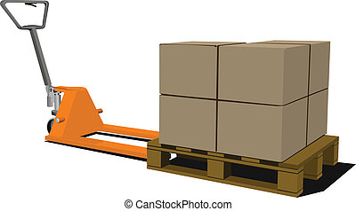 Boxes on hand pallet truck. Forkli