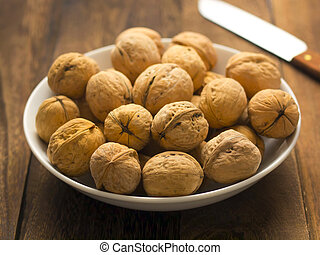 close up of a bowl of walnuts