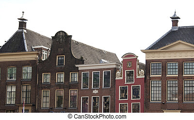 Old step gable roofs in Groningen, the Netherlands -...