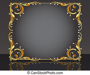 decorative frame with pattern gold pearl
