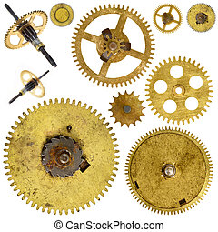 cogwheels gears on white background - Set of various old...