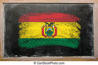 flag of Bolivia on blackboard painted with chalk