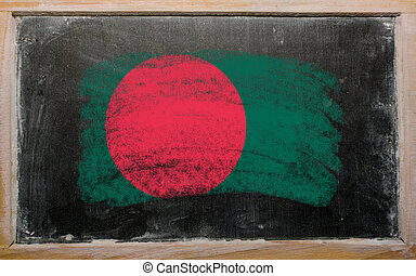 flag of Bangladesh on blackboard painted with chalk