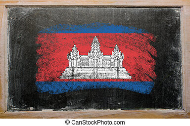 flag of Cambodia on blackboard painted with chalk