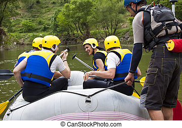 Group of people ready for rafting - Group of young people...