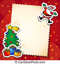 Christmas background with blank card, vector