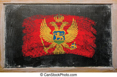 flag of  on blackboard painted with chalk
