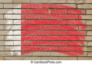 flag of bahrain on grunge brick wall painted with chalk