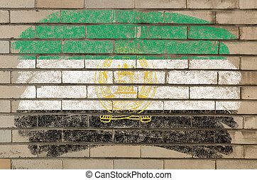flag of  afghanistan on grunge brick wall painted with chalk