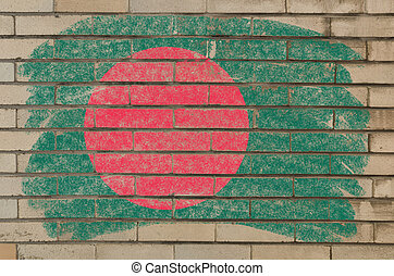 flag of bangladesh on grunge brick wall painted with chalk