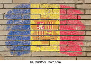 flag of andora on grunge brick wall painted with chalk -...