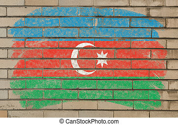 flag of azerbaijan on grunge brick wall painted with chalk