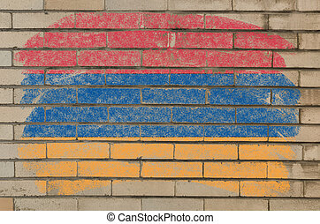 flag of armenia on grunge brick wall painted with chalk