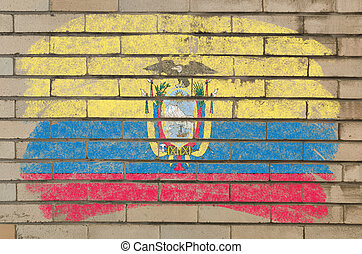 flag of ecuador on grunge brick wall painted with chalk