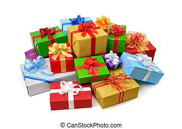 Happy pile of colorful gift boxes - Delightful pile of...