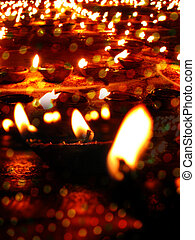 Diwali Lamps - Beautiful earthen lamps lit traditionally on...