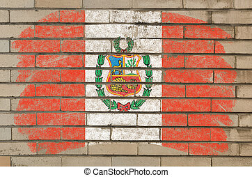 flag of  on grunge brick wall painted with chalk