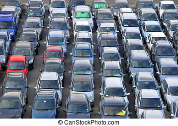 Many Cars in the parking - Many cars parked and distributed...