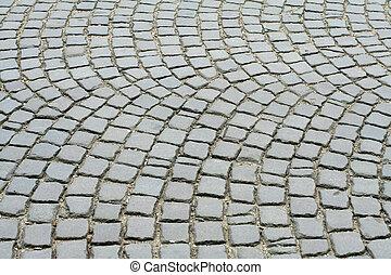 viejo, pavimento, piedras