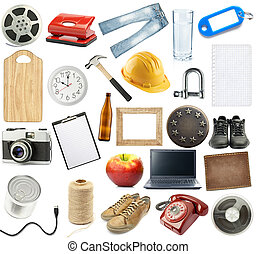 Isolated objects - Different objects collection, isolated on...