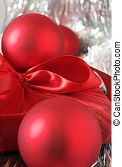 Christmas decorations and gift close-up